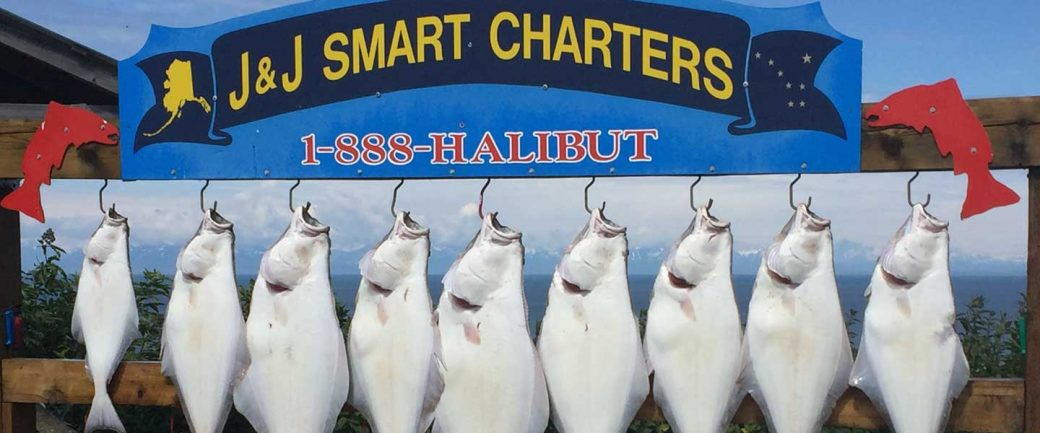 Halibut hanging from our sign